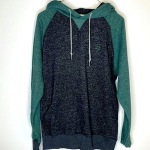 Small Billabong Heather Green and Charcoal LS Hoodie